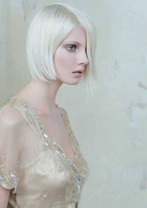 White Blonde Bob Side Swept Hair Styles