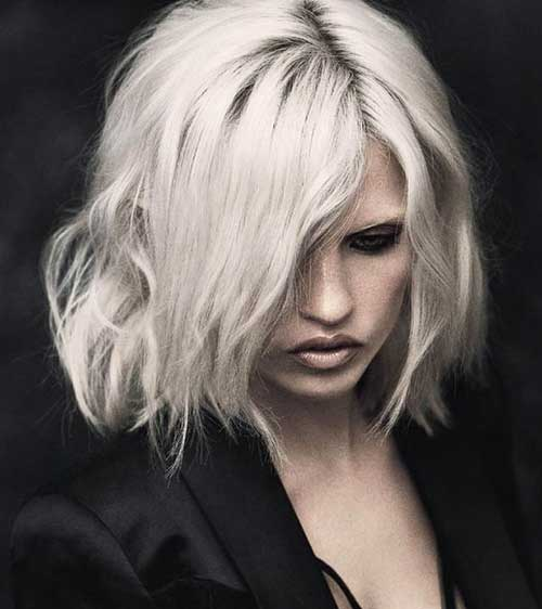 White Blonde Bob Wavy Hairstyles