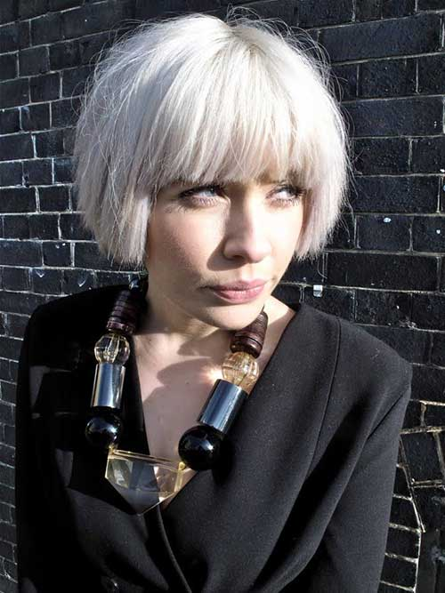 White Blonde Bob with Bangs Ideas