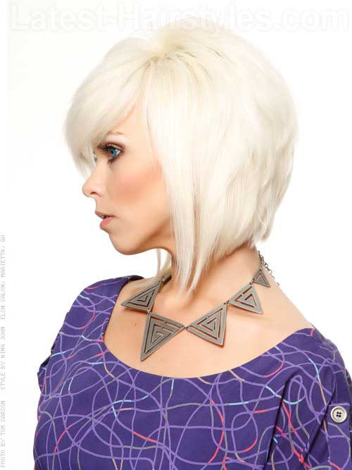 White Blonde Inverted Bob Style