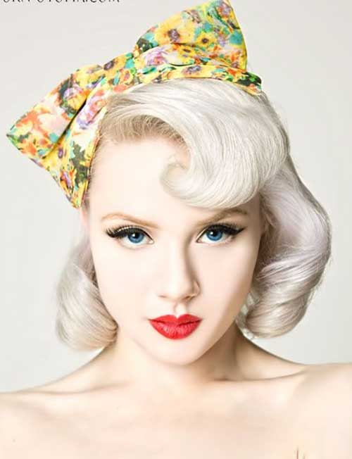 White Blonde Pin Up Bob Styles