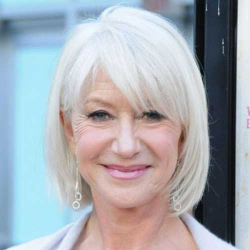 White Color Layered Bob Hairstyles for Over 50