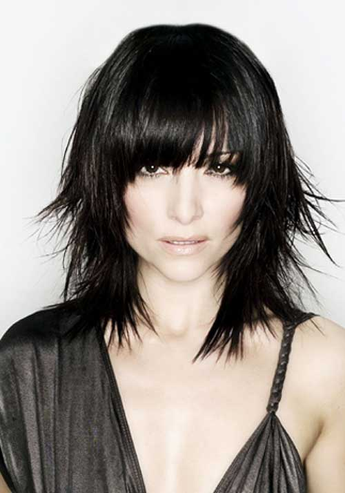 Dark Long Choppy Bob with Bangs Ideas