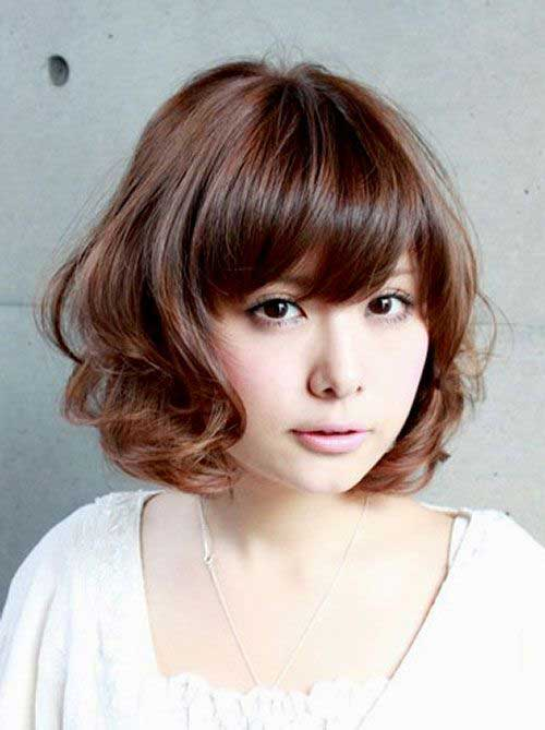 Japanese Curly Bob Hairstyles with Bangs