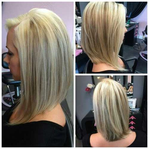Long Layered Angled Bob Hairstyles