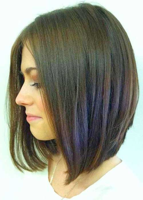 Long Layered Dark Bob Hairstyles