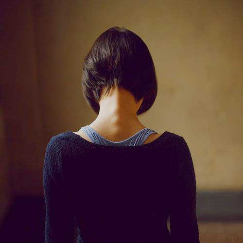 Back View of Dark Inverted Bob Haircuts