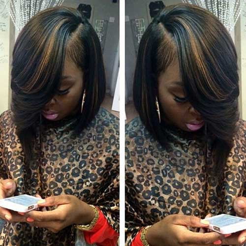 Black Girls Asymmetrical Bob Hairstyles