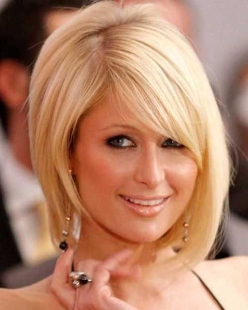 Blonde Asymmetrical Bob Hairstyle for Oval Face