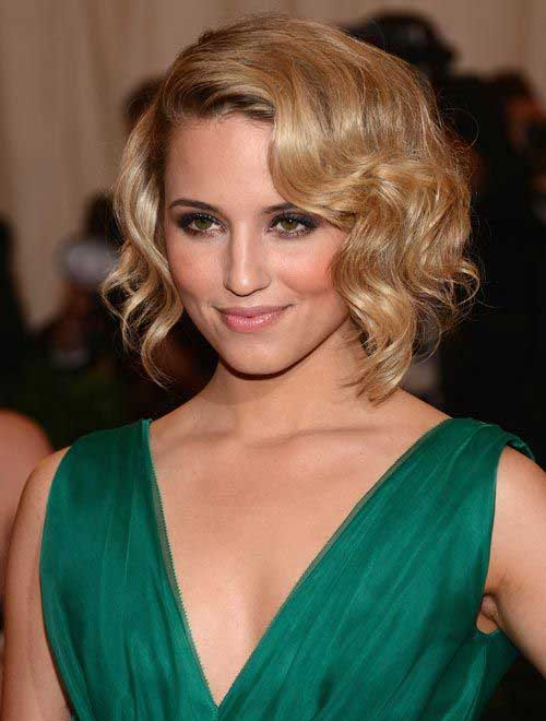 Blonde Curly Bob Hairstyle for Prom