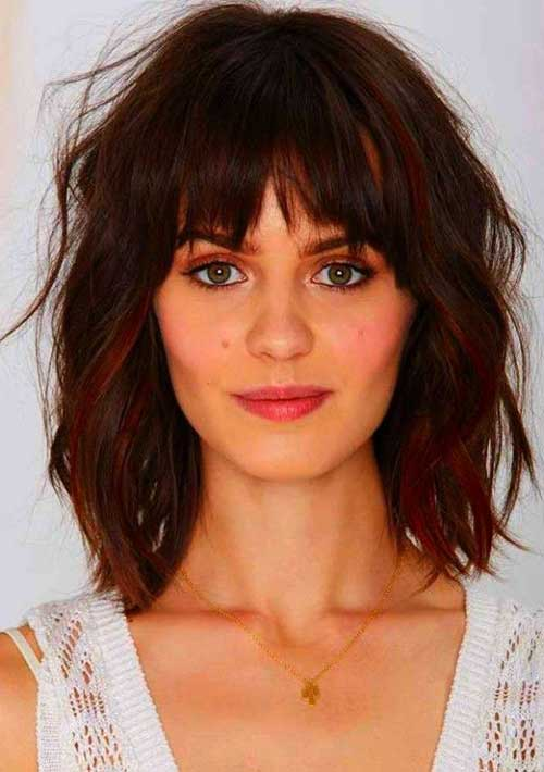 Bob with Bangs for Thick Wavy Hairstyles
