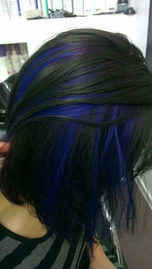Dark Bob Hair Blue Highlights Ideas