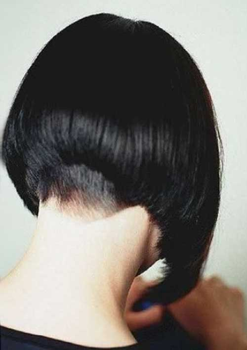 Dark Bob Shaved Nape Back Look