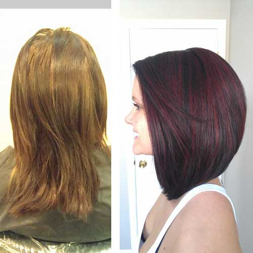 Dark Red Long Bob Hair Style