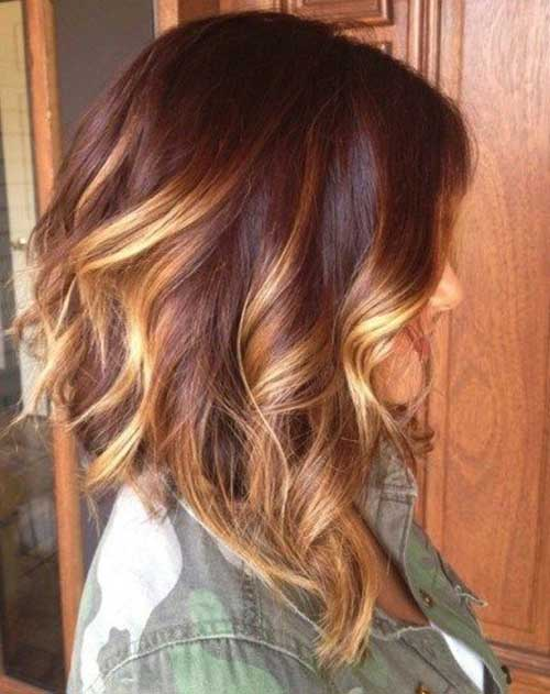 Ombre Hair Color Idea For Wavy Bob Hairstyles