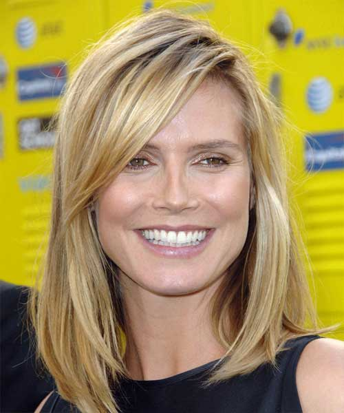 Heidi Klum Side Swept Bob Haircuts