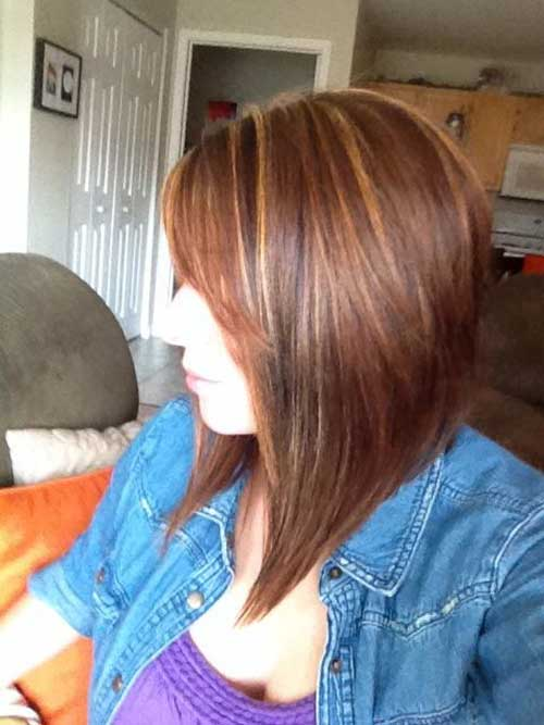 Highlighted Long Inverted Bob Hair