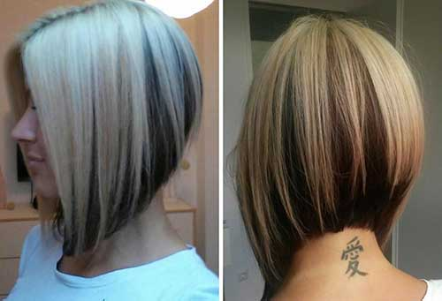 Highlighted Inverted Bob Haircut For Thick Hair