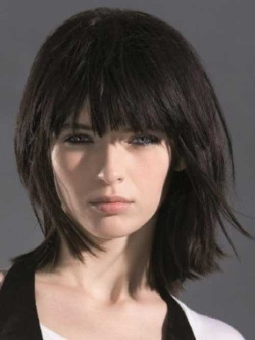 Medium Layered Bob with Bangs