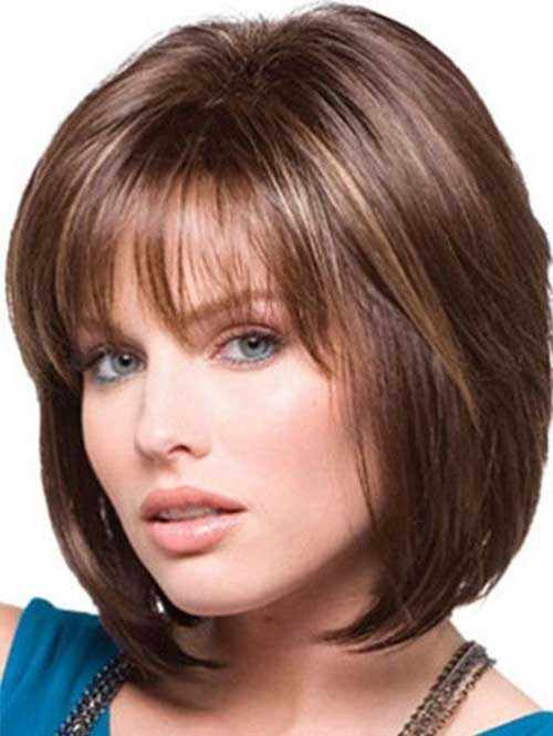 Straight Layered Medium Thin Bob With Bangs