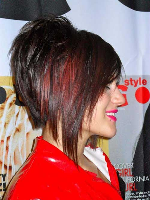 Layered Stacked Bob Dark Red Hair Color