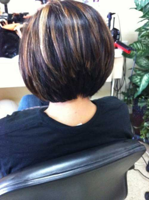 Layered Stacked Dark Bob Hair Cut