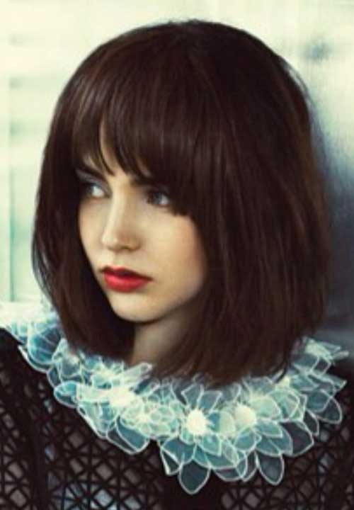 Long Bob Blunt Bangs Dark Hair Styles