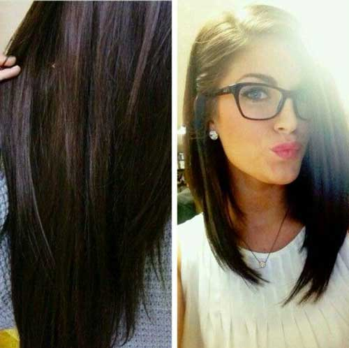 Pinned Long Bob Dark Straight Hair