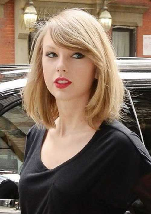 Long Bob Haircut and Side Bangs 2014