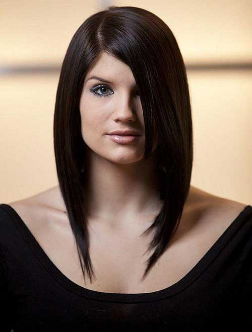 Long Inverted Bob with Side Swept Bangs