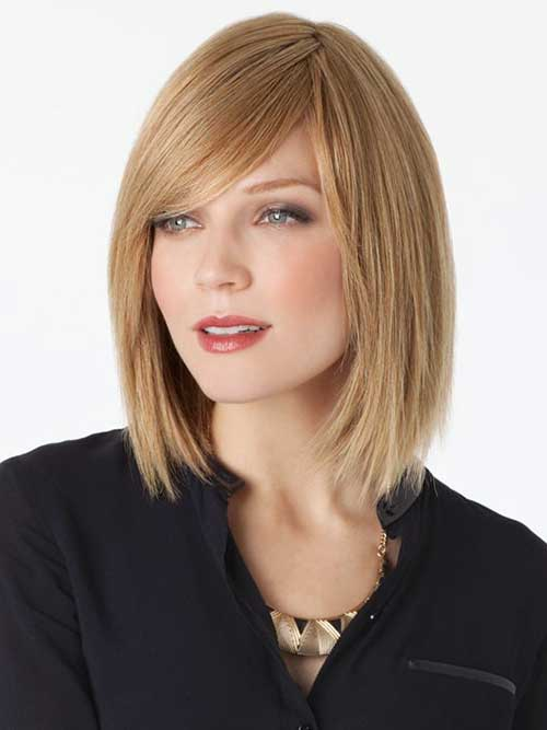 Best Long Layered Bob with Side Swept Bangs