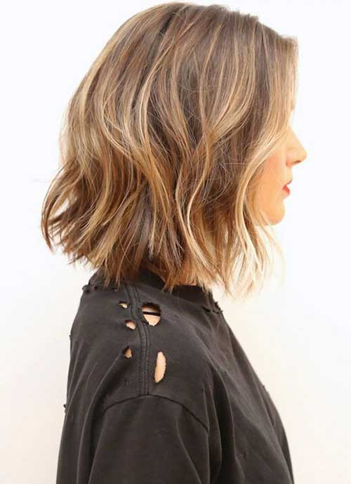 Medium Wavy Blunt Bob Hair Color