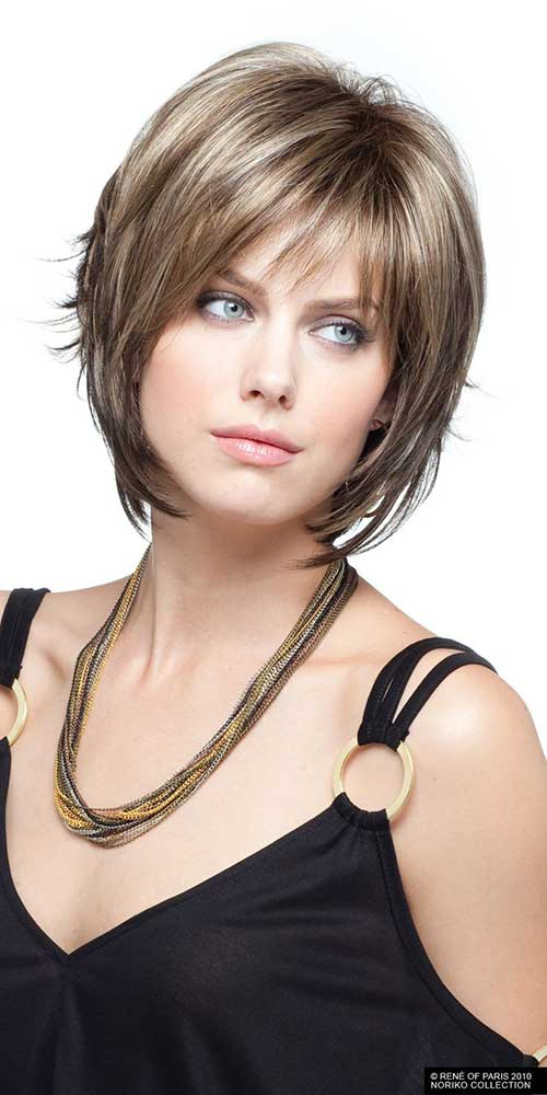 Mid Layered Bob with Bangs