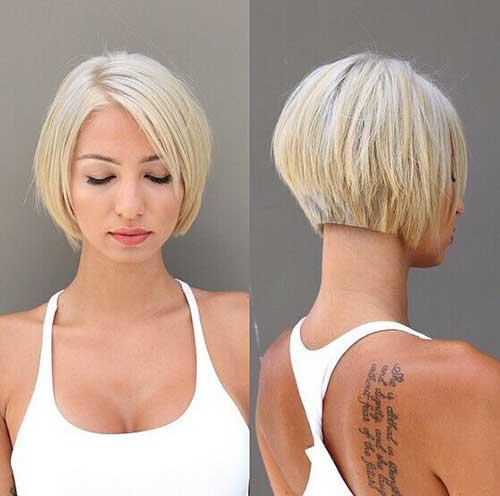 Nice Blonde Line Bob Cut 2015