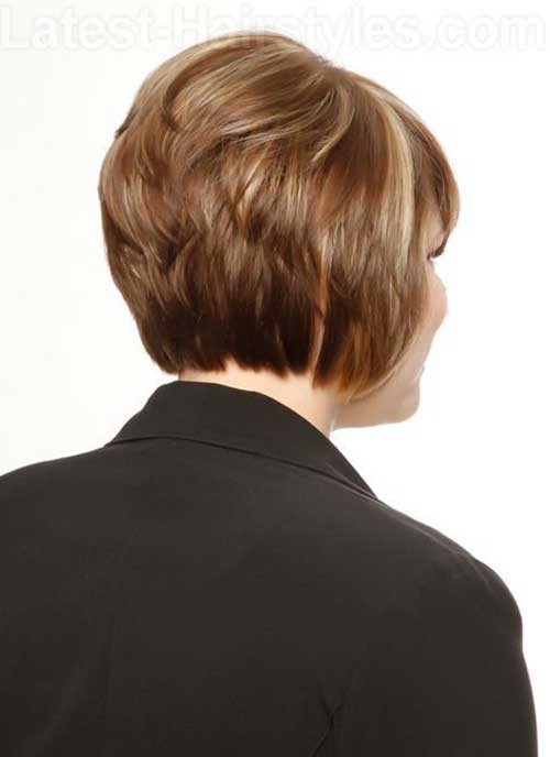 Short Layered Stacked Bob Back View
