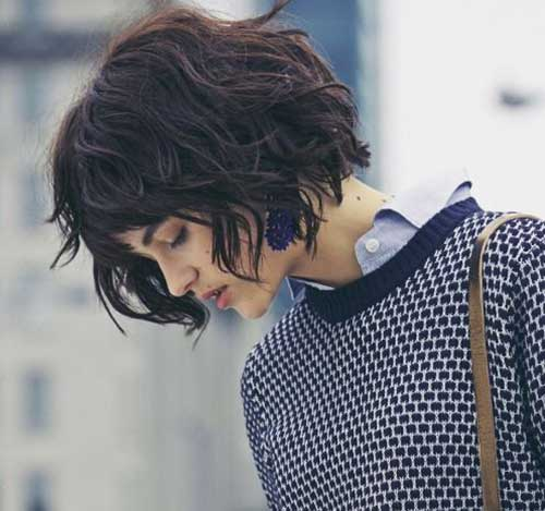 Wavy Dark Brown Hair Bob