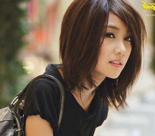 Asian Straight Layered Hair With Side Bangs Asian Bob Pics ...
