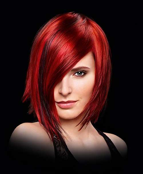 Asymmetrical Red Bob Hairstyles