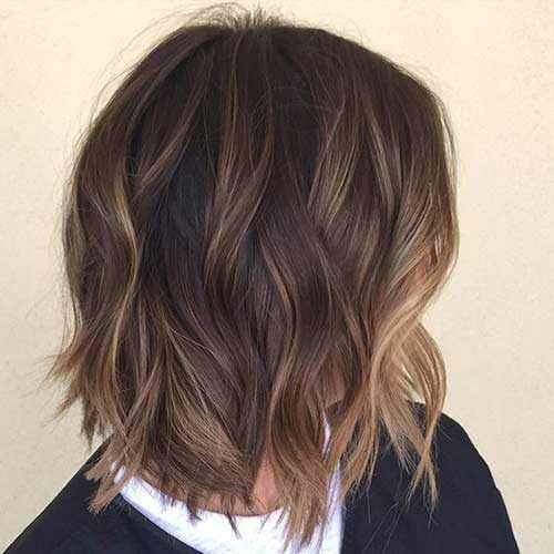 Baby Lights Balayage Dark Bob Hair