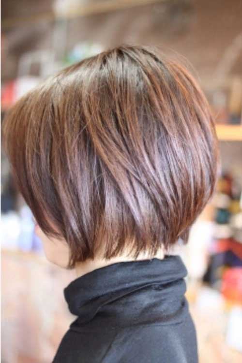Brown Short Aline Bob Hairstyles