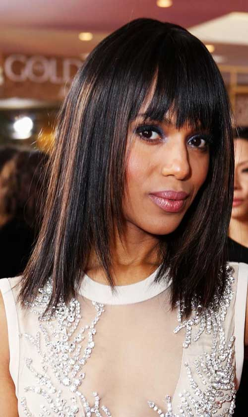 Straight Dark Bob Hair with Bangs for Long Face