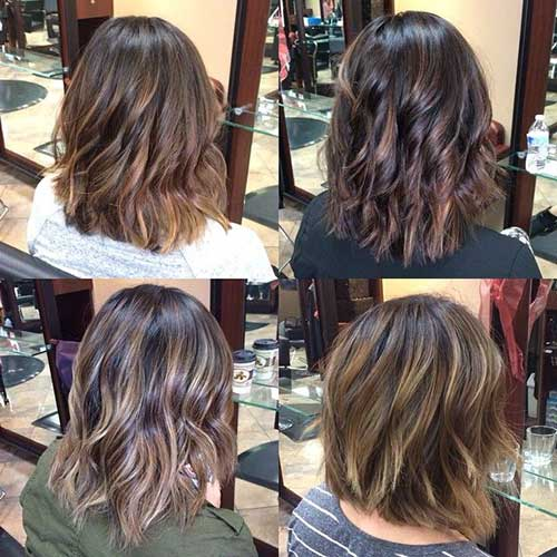 Dark Brown Balayage Bob Haircut