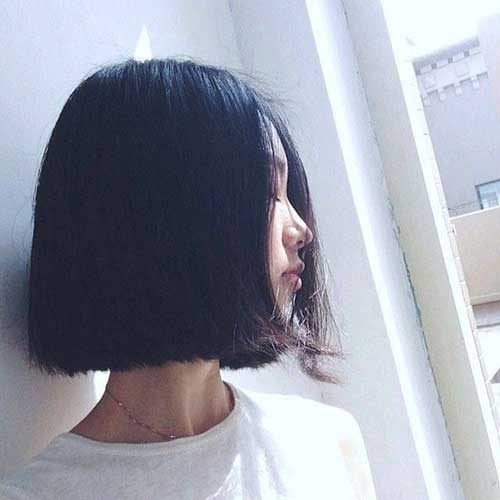 Dark Inverted Asian Bob Hair
