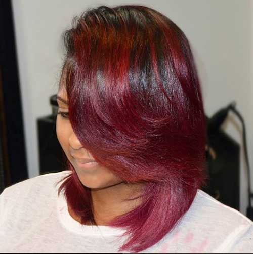 Red Layered Bob Cuts