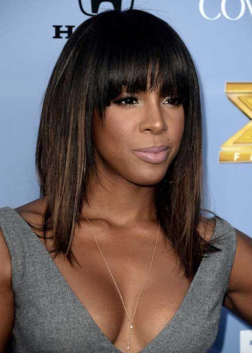 Long Blunt Bangs Bob Hairstyles for Black Women