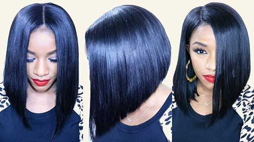 Inverted Dark Blue Long Bob Cuts Idea