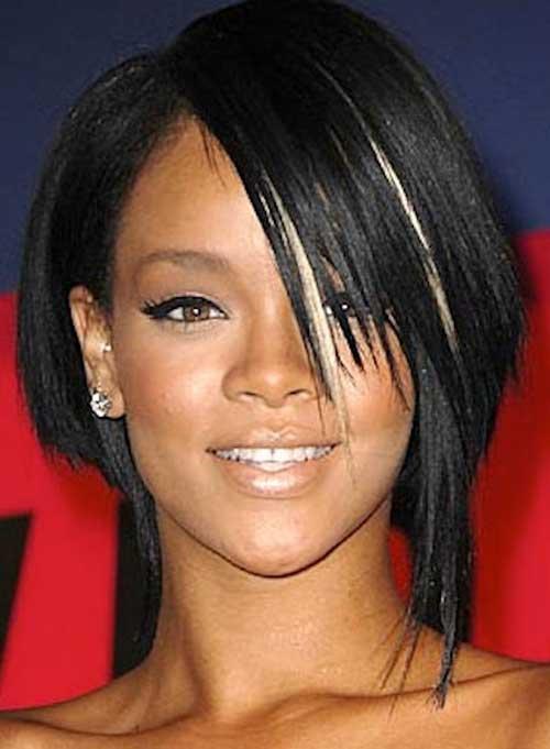 Rihanna Asymmetric Bob Cut Hairstyle