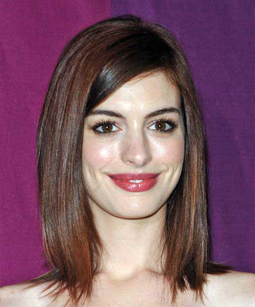 Anne Hathaway Straight Long Bob Haircut