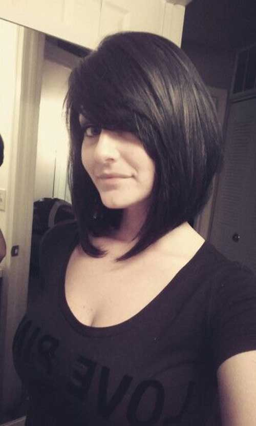 Bob Haircut with Side Swept Bangs