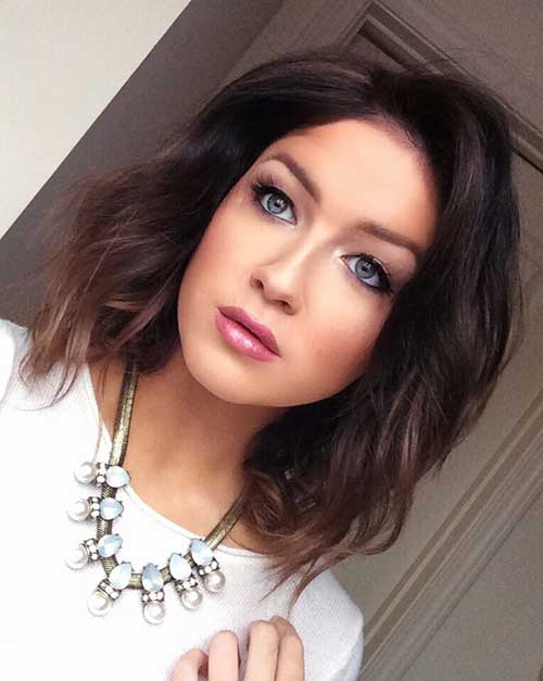 Long Bob Dark Hair Color With Soft Waves
